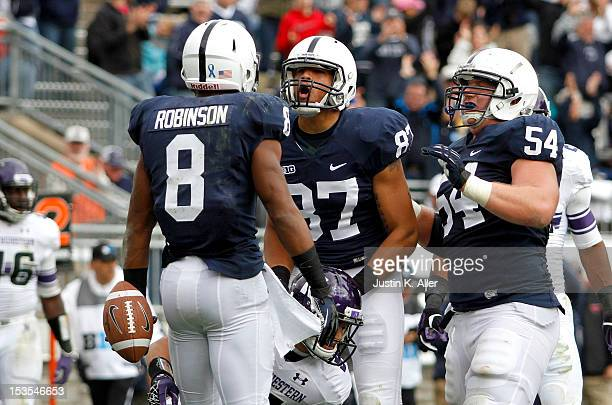 Allen Robinson of the Penn State Nittany Lions celebrates after a third quarter touchdown against the Northwestern Wildcats during the game on...