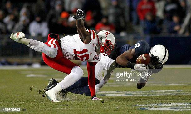 Allen Robinson of the Penn State Nittany Lions makes a catch against Stanley JeanBaptiste of the Nebraska Cornhuskers during the game on November 23...
