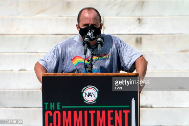 Allen Roskoff, a gay rights advocate, speaks during the March on Washington at the Lincoln Memorial on August 28, 2020 in Washington. Today marks the...