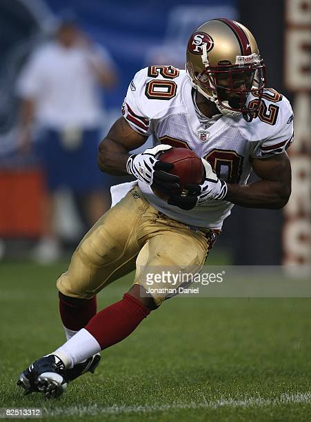 Allen Rossum of the San Francisco 49ers fields a kickoff against the Chicago Bears on August 21 2008 at Soldier Field in Chicago Illinois The 49ers...