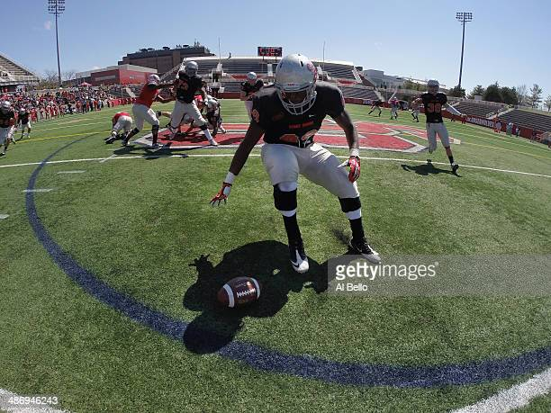 Allen Singleton Stony Brook runs after a fumble during their Spring Football Game at Kenneth P LaValle Stadium on April 26 2014 in Stony Brook New...