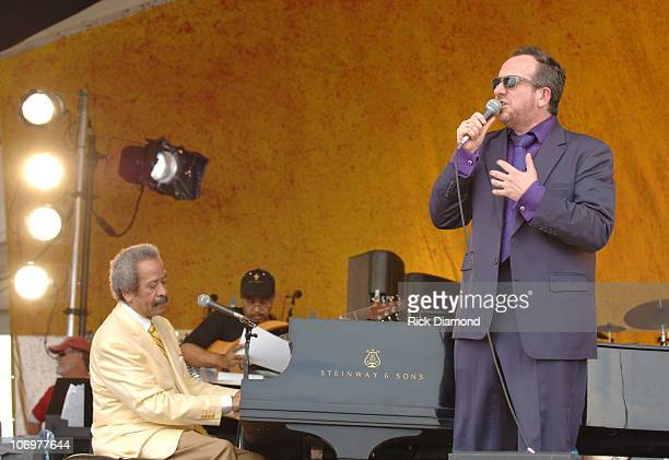 Allen Toussaint and Elvis Costello during 37th Annual New Orleans Jazz Heritage Festival Presented by Shell Allen Toussaint and Elvis Costello April...