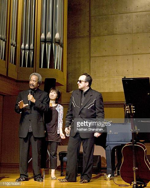 Allen Toussaint and Elvis Costello during Elvis Costello and Allen Toussaint Showcase for their Collaboration Album 'The River In Reverse' at Gloria...