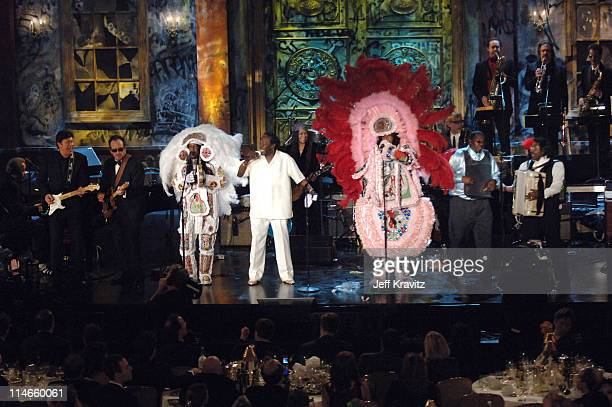 Allen Toussaint Robbie Robertson Elvis Costello Wild Magnolias Sir Reginald Dural and Buckwheat Zydeco perform 'Who's Gonna Help Brother Get...