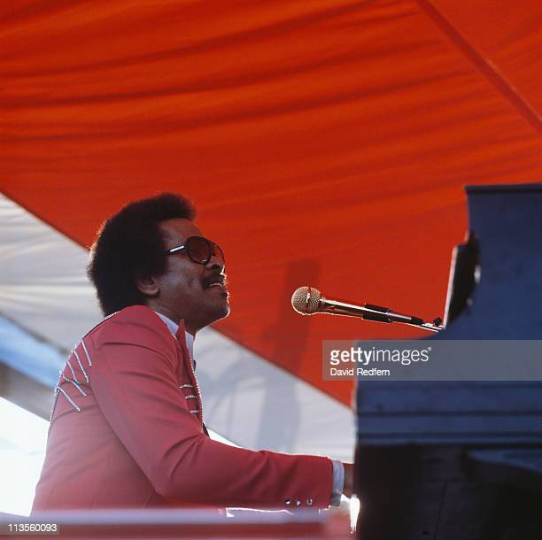 Allen Toussaint US rhythm and blues musician composer and record producer playing the piano at the New Orleans Jazz and Heritage Festival in New...