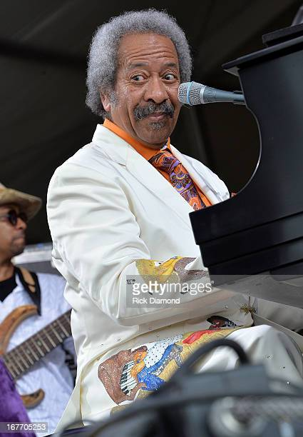 Allen Toussaints performs during the 2013 New Orleans Jazz Heritage Music Festival at Fair Grounds Race Course on April 27 2013 in New Orleans...