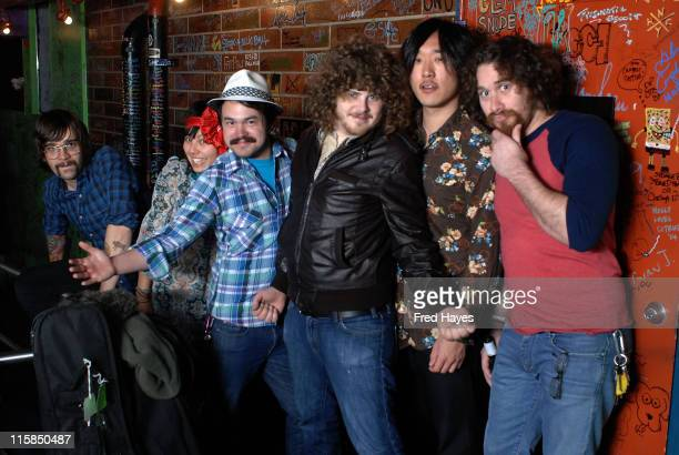 Allen Van Orman Andrea Babinski Kyle Divine Dustin Apodaca Edson Choi and Eric Chirco of Dusty Rhodes and The River Band attend the Music Cafe during...