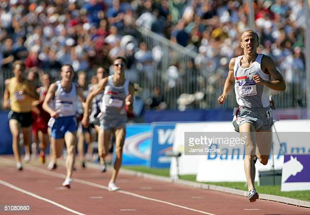Allen Webb competes in the men's 1500 Meter Run Final during the U.S. Olympic Team Track & Field Trials on July 18, 2004 at the Alex G. Spanos Sports...