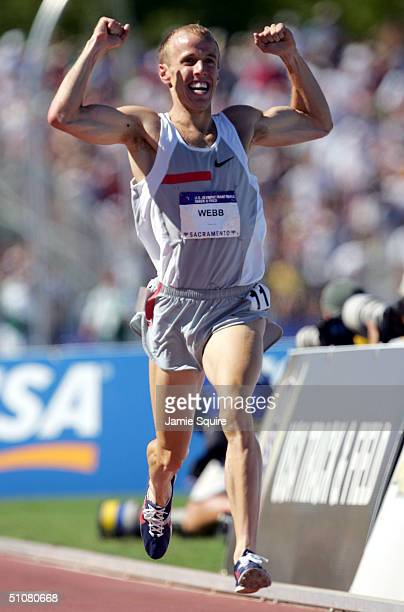 Allen Webb crosses the finish line, winning the men's 1500 Meter Run Final during the U.S. Olympic Team Track & Field Trials on July 18, 2004 at the...