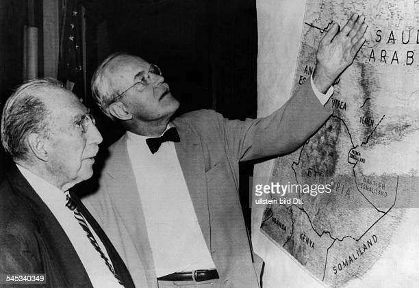 Allen Welsh Dulles*18931969Politician USA19531961 head of the CIAAllen W Dulles and Senator ThF Green discussing the current unrest in Iraq