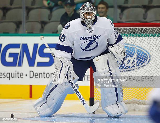 Allen York of the Tampa Bay Lightning before taking on the Dallas Stars in a preseason game at American Airlines Center on September 30 2014 in...