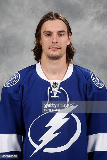 Allen York of the Tampa Bay Lightning poses for his official headshot for the 20142015 season on September 18 2014 at the Tampa Bay Times Forum in...