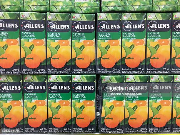Allen's 5 Citrus Cocktail juiceboxes stacked on a supermarket shelf Lassonde Industries Inc is a Canadian agrifood company with operations throughout...