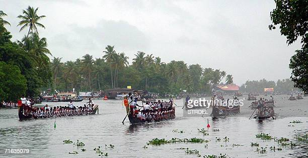 Indian oarsmen and women prepare to take part in the Nehru Boat Races in Alleppy 12 August 2006 The boat races which feature both men's and women's...