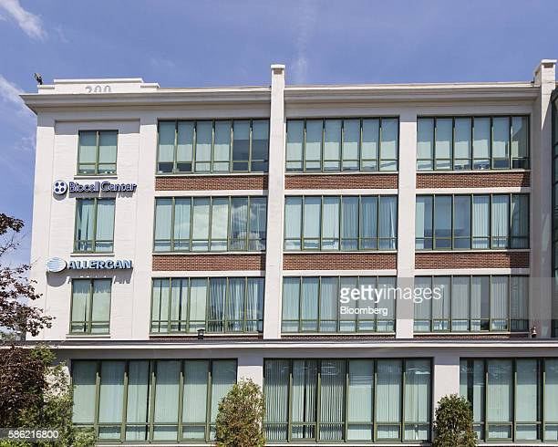 Allergan Plc signage is displayed on the exterior of an office building complex in Medford Massachusetts US on Friday Aug 5 2016 Allergan Plc is...