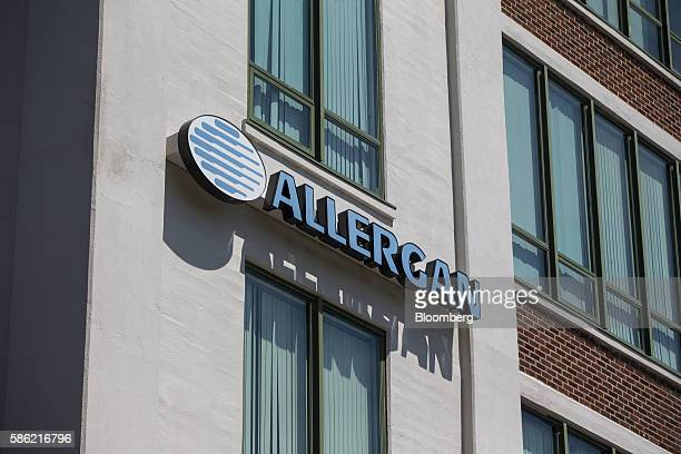 Allergan Plc signage is displayed on the exterior of the company's office in Medford Massachusetts US on Friday Aug 5 2016 Allergan Plc is scheduled...