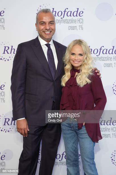 Allergan Senior Vice President Jag Dosanjh and Kristin Chenoweth launch RHOFADE Cream 1% at 201 Mulberry on May 23 2017 in New York City