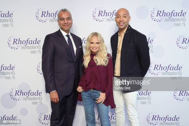 Allergan Senior Vice President Jag Dosanjh Kristin Chenoweth and Sir John attend the RHOFADE Cream 1% Launch Event at 201 Mulberry on May 23 2017 in...