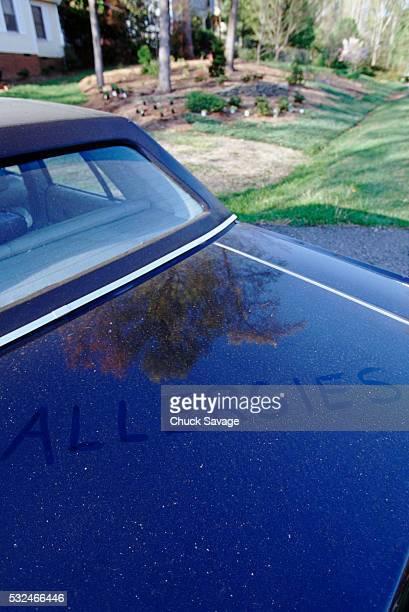 'Allergies' written in pollen on a car