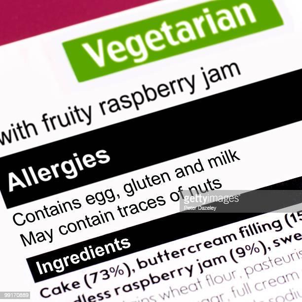 Allergy warning on packaging