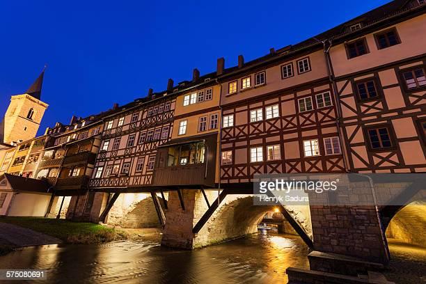 allerheiligenkirche and krämerbrücke - erfurt stock pictures, royalty-free photos & images