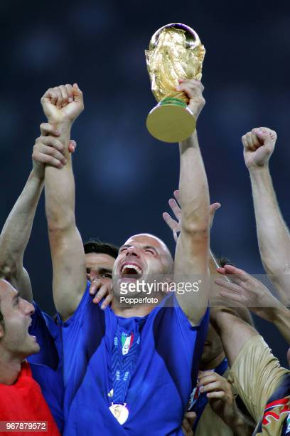 Allessandro Del Piero of Italy celebrates with the trophy following the FIFA World Cup Final at the Olympic Stadium in Berlin on July 9th 2006 Italy...