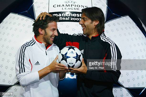 Allessandro Del Piero of Juventus and Rui Costa of AC Milan unveil the Official Match Ball of the UEFA Champions League Final between Juventus FC and...