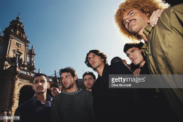 Allessandro del PieroPaolo MaldiniAriel Ortega and Carlos Valderrama pose for a portrait for soft drinks manufacturer PepsiCola on 23 December 1999...