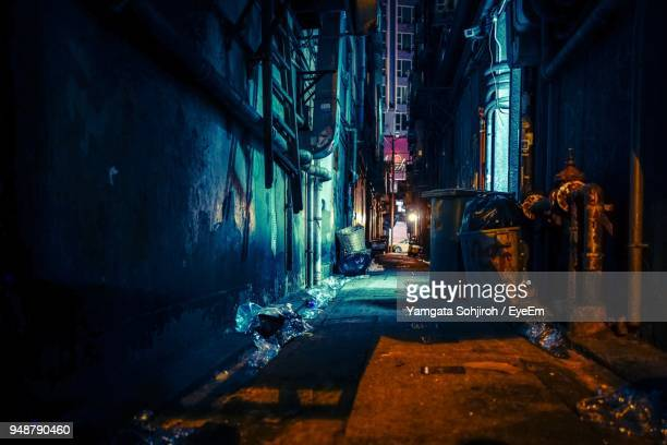 alley amidst buildings in city at night - 路地 ストックフォトと画像
