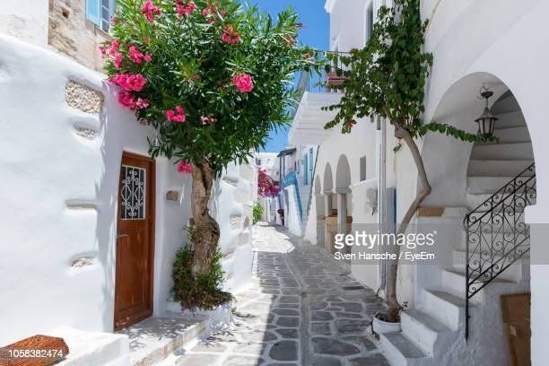alley amidst buildings in city during sunny day - greece stock pictures, royalty-free photos & images