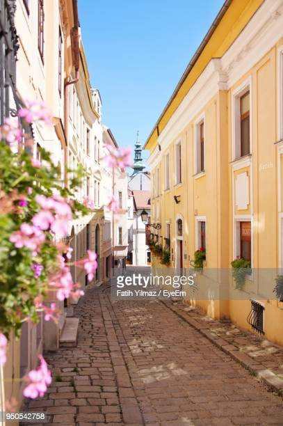 alley amidst houses and street against sky - bratislava stock pictures, royalty-free photos & images