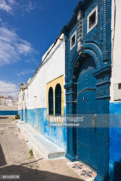 Alley and blue buildings in Kasbah des Oudaias