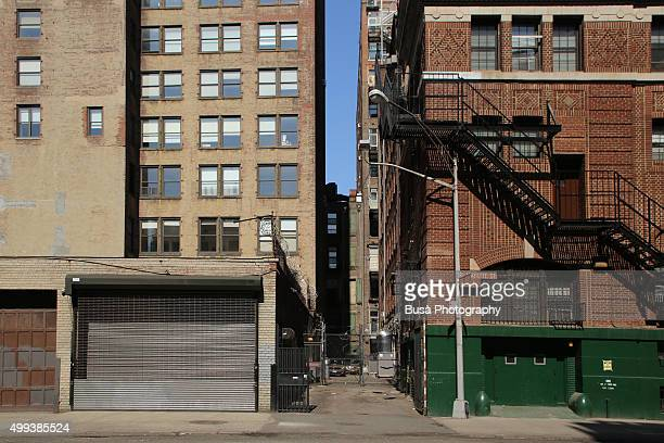 Alley between two buildings in Noho, Manhattan, New York City