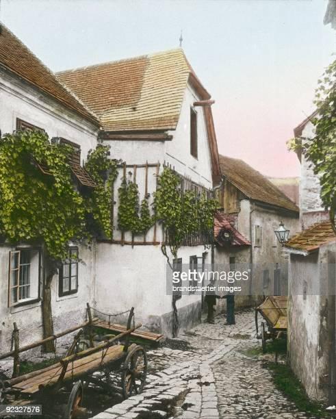 Alley in Stein an der Donau Wachau Lower Austria Handcolored lantern slide 1910