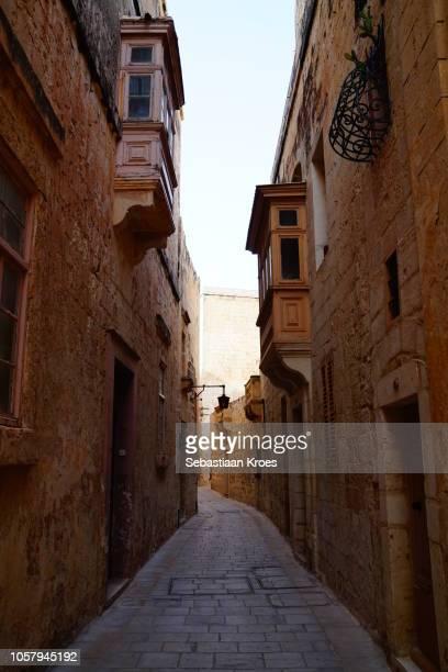 Alley inside the fortification of Mdina, Dusk, Malta