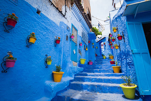 Alleyway In Chefchaouen, Morocoo Wall Art