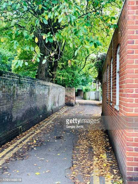 alleyway with autumn leaves in eton - windsor england stock pictures, royalty-free photos & images