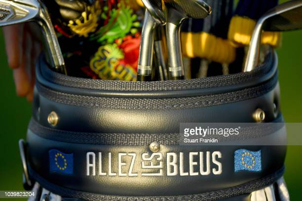 'Allez les Bleus' is seen on a Europea golf bag during a photocall ahead of the 2018 Ryder Cup at Le Golf National on September 25 2018 in Paris...
