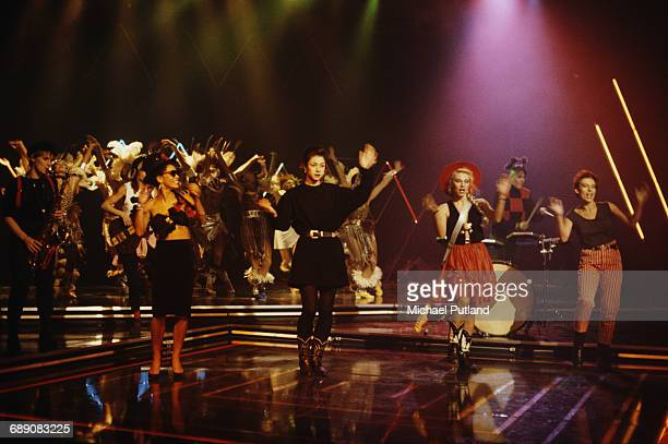 All-female pop group The Belle Stars performing 'The Clapping Song' at the 1983 British Rock and Pop Awards at The Lyceum, London, 21st February...