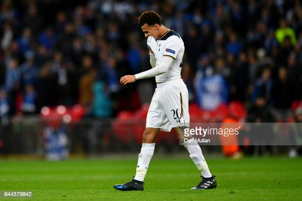Alli of Tottenham Hotspur reacts as he is sent off during the UEFA Europa League Round of 32 second leg match between Tottenham Hotspur and KAA Gent...