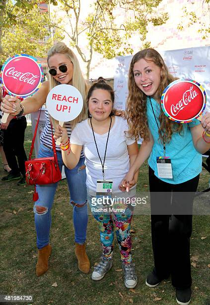 Alli Simpson cheers on Madison Tevlin and Bree Bogucki as Madison and Bree arrive to open the 2015 Los Angeles Special Olympics World Games by...