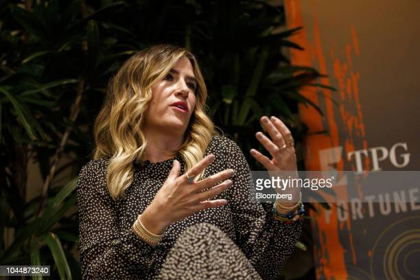 Alli Webb founder of Drybar speaks during the Fortune's Most Powerful Women conference in Dana Point California US on Tuesday October 2 2018 The...