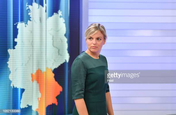 Alliance 90/The Greens party leading candidate Katharina Schulze attends a TV show during the Bavaria state elections on October 14, 2018 in Munich,...