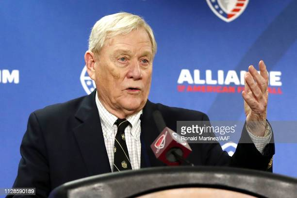 Alliance of American Football cofounder Bill Polian speaks during a press conference after the San Antonio Commanders defeated the San Diego Fleet...