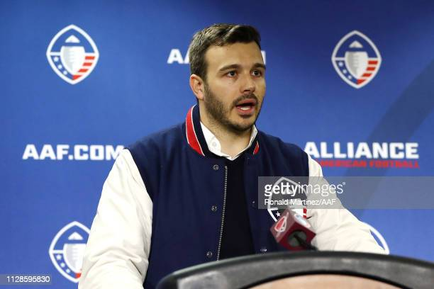Alliance of American Football cofounder Charlie Ebersol speaks during a press conference after the San Antonio Commanders defeated the San Diego...