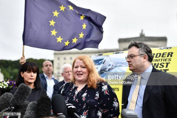 Alliance Party leader Naomi Long speaks to the media following her meeting with Prime Minister Boris Johnson at Stormont on July 31 2019 in Belfast...