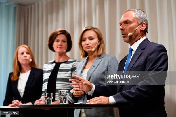 Alliansens party leaders Annie Loof Anna Kinberg Batra Ebba Busch Thor Jan Bjoerklund give a statement at the Moderate party's headquarter in...