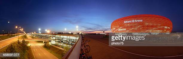 allianz arena at dusk - bayern munich football stock pictures, royalty-free photos & images