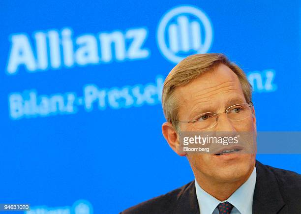 Allianz Chief Executive Michael Diekmann speaks during the company's annual press conference in Munich Thursday Feb 22 2007 Allianz SE and Axa SA...