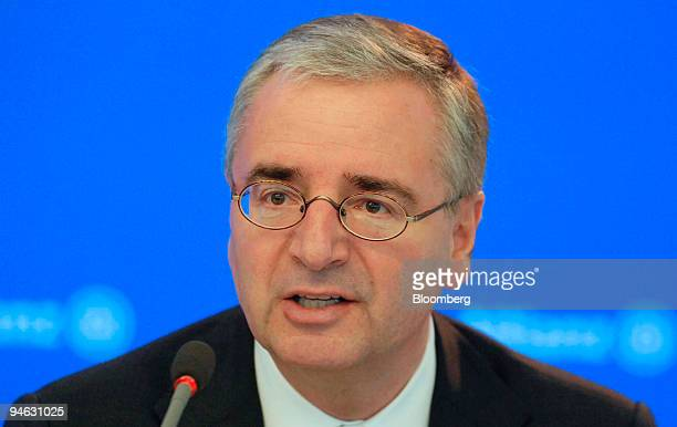 Allianz Chief Financial Officer Paul Achleitner speaks during the company's annual press conference in Munich Thursday Feb 22 2007 Allianz SE and Axa...